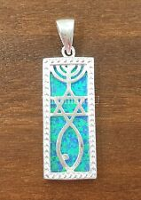 Blue Opal MESSIANIC SEAL Pendant Sterling Silver Star of David Menorah + Gift