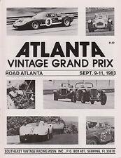 Atlanta  Race Programme Sept 1983 - S.V.R.A. Vintage Grand Prix, Road Atlanta.