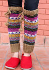 Handknitted Brown Pink Multicolor Winter Legwarmers with Lace