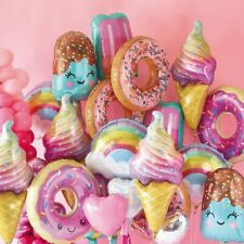 1set Pink Donut Lip Ice Cream Popcorn Candy Foil Balloon Baby Shower Happy