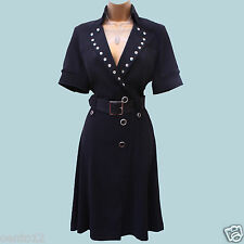 KAREN MILLEN 1940's Black Studded Shirt Military Cocktail Party Dress 14 UK 42EU