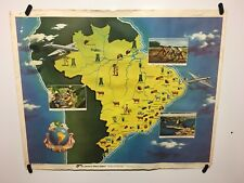 Original vintage travel Airline poster Pan American Pan Am Brazil 40's