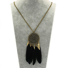 Women Fashion Retro Dream Catcher feather Pendant Long Sweater Chain Necklace