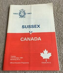 1983 Programme Sussex v Canada at Worthing RFC, Canada Tour of England