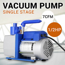 Single Stage Vacuum Pump Rotary Vane 7CFM 1/2HP Deep HVAC AC Air Tool Black New