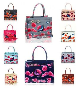 New Women's Patent Poppy Butterfly Patterned Hand Bag With Ribbon Belt Details