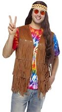 60's Fringed Vest Br Faux Suede Look Groovy Hippie retro Costume Vest Std & XL