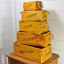 Set di 5 casse di legno. Display/scatole portaoggetti. J.T. Pepper, frutta, verdura nuovo design.