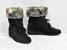 B0 STUART WEITZMAN Black Suede Fur Cuff Lace Detail Wedge Boots Shoes Size 6 M