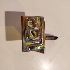 Vintage Sterling Silver & enamel Modernist Brutalist handmade  Cufflinks