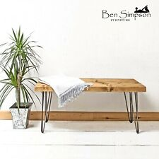 Rustic Bench Chunky Solid Wood Metal Hairpin Legs BEN SIMPSON FURNITURE