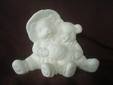 "C584-Ceramic Bisque 5"" X 7"" Scarecrow Cuddle Bears with Jack-O-Lantern-U Paint"