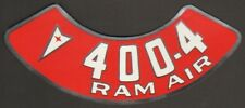 Pontiac 400-4V RAM AIR Air Cleaner Decal, Red & White on Silver
