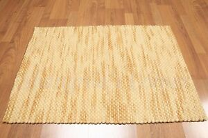 Accent Rug 100% Wool 2x3 Multi-use Textured Gold Ombre RUG Foyer Den Bath Carpet