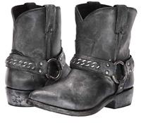 New in Box Womens Frye Billy Chain Short Moto Western Boots Black MSRP $ 348