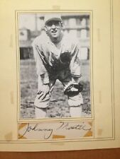 Vintage Autograph Johnny Mostil cut mounted with photo