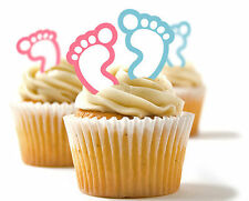 ✿ 24 Edible Rice Paper Cup Cake Toppings, Cake dec - Baby Feet Pink and Blue ✿