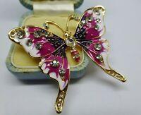 Butterfly brooch purple enamel rhinestone Vintage style insect pin in gift box