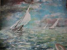 Gran pintura al óleo ruso océano y barcos