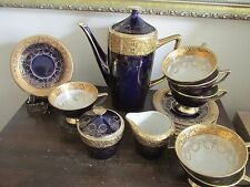 Echt Cobalt Bavaria Germany Demitasse Coffee Set Pot Cups And Saucers Heavy Gold