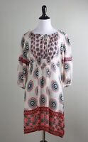 ANTHROPOLOGIE $178 Tolani 100% Silk Smocked Waist Light Medallion Dress Size XS