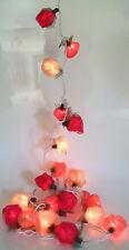 ROSEN BLÜTEN 20er-LED-Lichterkette Bastrosen Hochzeitsdeko rot-weiß-pink