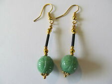 VINTAGE CARVED GREEN JADE GLASS w/GOLD BEADS & BLACK STEM PIERCED EARRINGS
