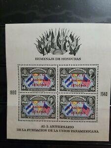 HONDURAS STAMPS 1949 SOUVENIR SHEET UPU 75th OVERPRINT MNH