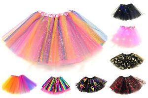 GIRLS RAINBOW TUTU SKIRT MULTICOLOURED HALLOWEEN KID'S COSTUME BALLET DANCE