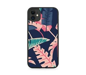 Hot Pink Jungle Leaves Rubber Phone Case Cover Palm Tree Trees Leaf Shapes F693