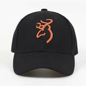 NEW BLACK & ORG BROWNING BALL CAP HAT W BUCKMARK LOGO PATCH ADJUSTABLE