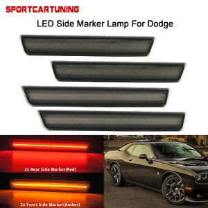 Front Rear LED Side Marker Light Smoked Lens Lamp For 2015-2020 Dodge Challenger