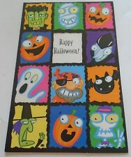Happy Halloween Monsters Ghosts in Squares Card with Envelope