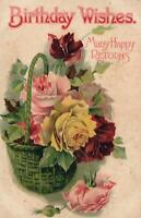 VINTAGE BIRTHDAY WISHES BUNCH of ROSES POSTCARD - LONG INTERESTING MESSAGE