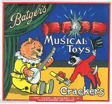 ORIGINAL LABEL VINTAGE FIRECRACKERS 1930S MUSICAL TOY CAT DOG TERRIER BANJO