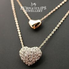 18CT Rose Gold GP Double Heart  Necklace W/ Genuine Swarovski Crystals