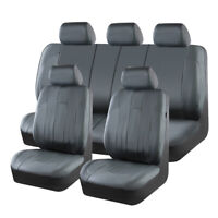 Universal Grey Luxurious Leather Comfortable Car Seat Covers Airbag Compatible