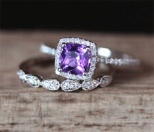 Certified 2.50Ct Halo Cushion Amethyst Engagement Bridal 14K Solid Gold Ring Set