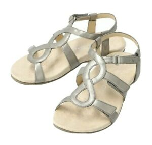 Vionic Womens Sz 6 Wide Jodie Metallic Pewter Strappy Sandals Orthaheel Footbeds