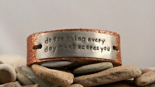 Do one things every day that scares you - Distressed Leather Bracelet Silver