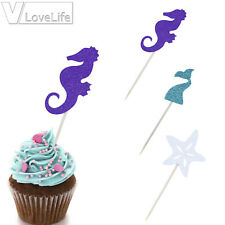 24 Pcs Mermaid Cake Topper Seashell Cupcake Toppers Cake Pick Starfish Mermaid