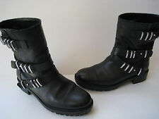 ZARA WOMAN BLACK LEATHER BIKER ANKLE METAL TRIM BOOTS WOMEN US 6  EUR 36 HOT