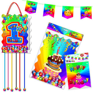 1st Birthday Piñata with Flags Banner First Happy Party Pull String Theme Game