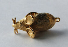 VINTAGE GOLD CAST METAL MOUSE TIE TACK MENS JEWELRY PENDANT BAIL