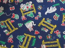 Cat dog retro vintage fabric material sewing fences animals turtles novelty frog