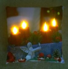 LED LIGHT UP CHRISTMAS CUSHION ADVENT CANDLE AND ANGEL  - C-3001  XMAS