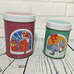Set Of 2 Retro Storage Tins With Cats Kittens Cans Canisters Pink Green