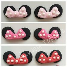 Edible Minnie Mouse Cupcake Decorations Mixed Colours Bows Ears Glitter Pearls