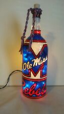 Ole Miss Inspiered Hand painted Wine Bottle Lighted Stained Glass look