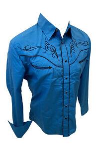 Men RODEO WESTERN TEAL BLACK STITCH Long Sleeve Woven SNAP UP Shirt Cowboy 524